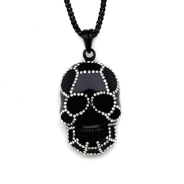 Classic Black Skull Pendant Necklace - Badassnow