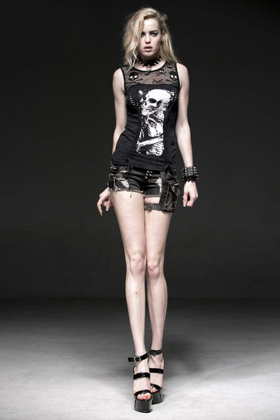 Punk Skull Sleeveless Stretch T-Shirts