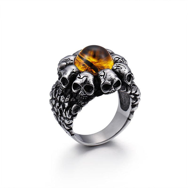 Skulls Ring Opal Red Brown Stone