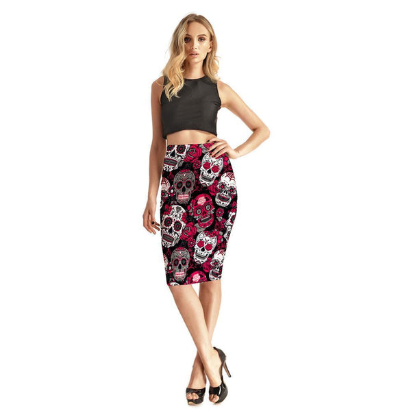 Rose Skully Women's Sexy 3D Skirts High Waist