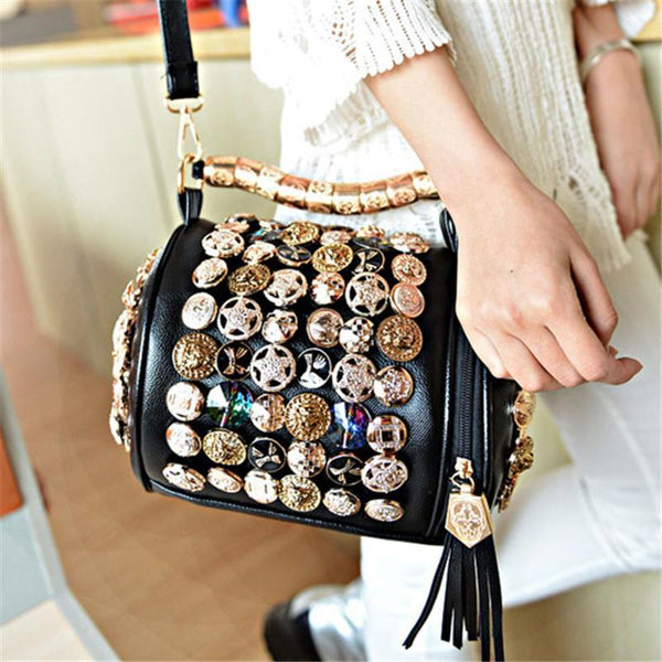 Rhinestone Skull Button Handbag