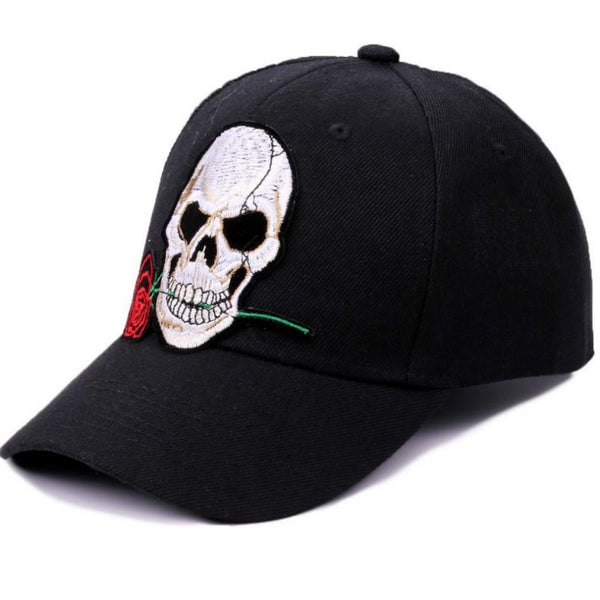 Rose Skull Embroidery Baseball Cap