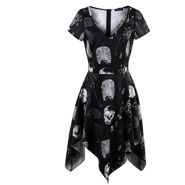 Skeleton Bone Goth Mini Dress