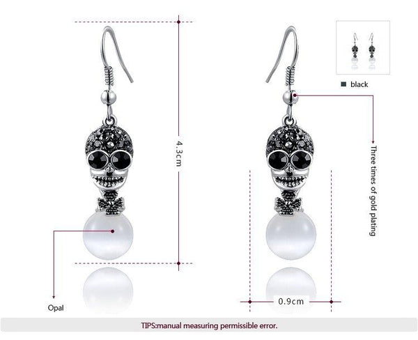 Black Color Cubic Zirconia Skull Drop Earrings - Badassnow