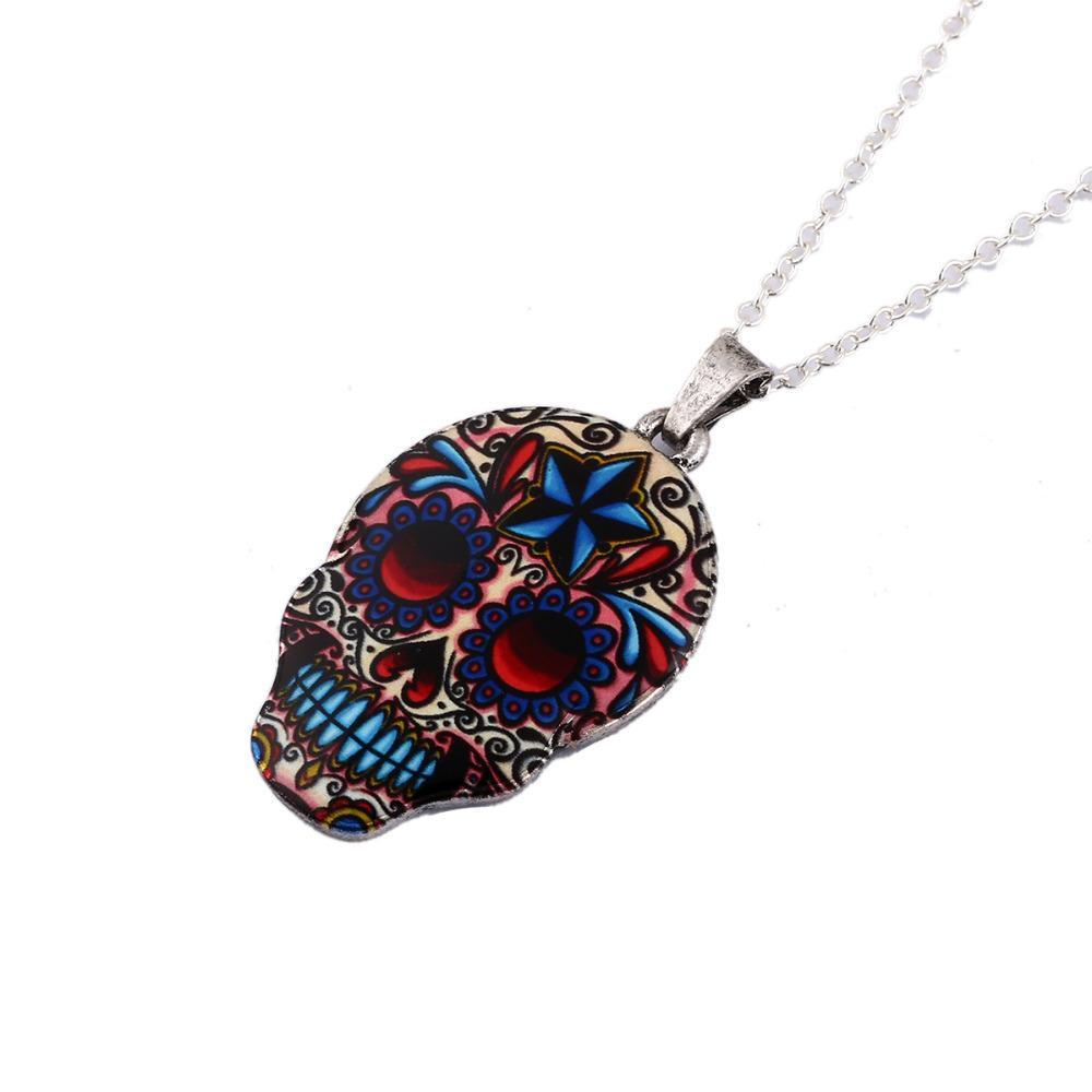 Colorful Skull Pendant Necklace