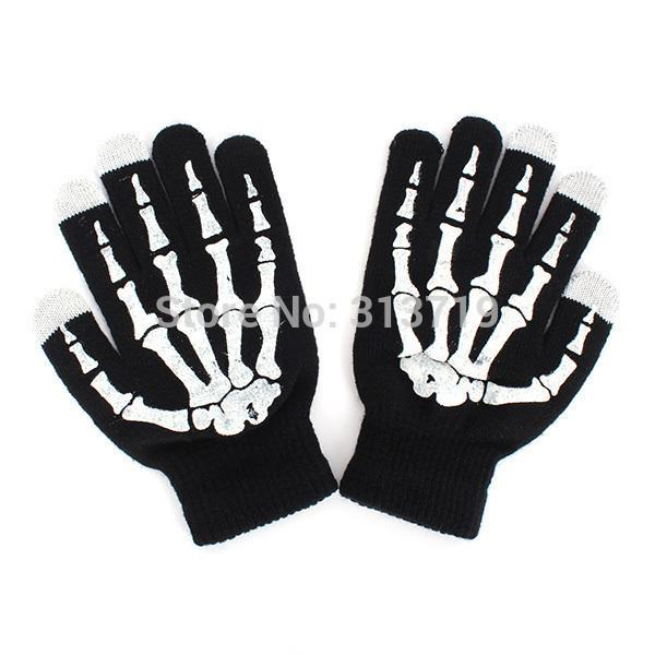 Skeleton Hand Warmer Black Mitten For Smart Phone