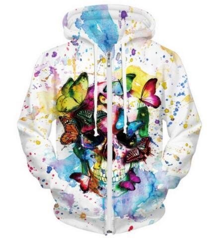 Skull with Butterfly Pattern Hoodie