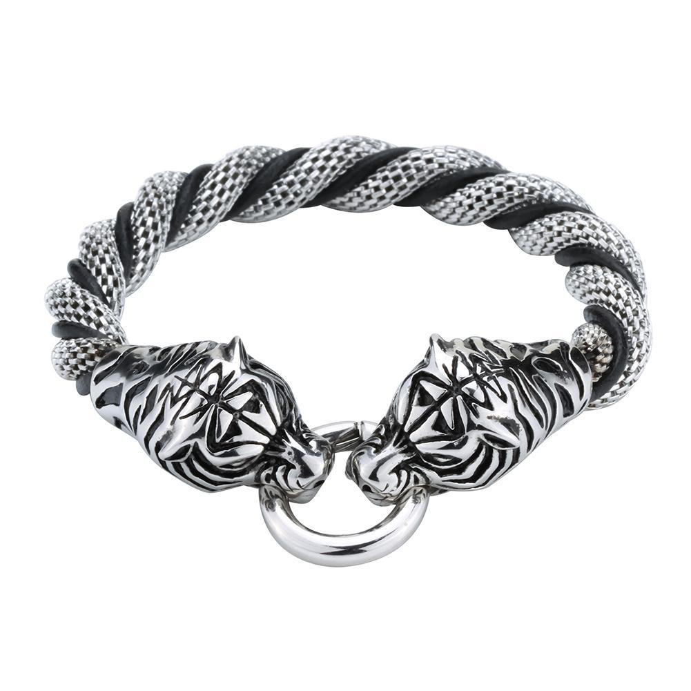 Tiger Stainless Steel Black Leather Chain Bracelet
