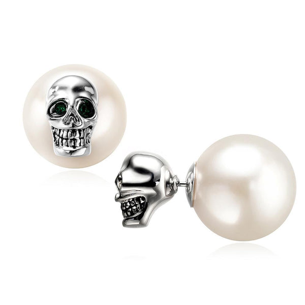 Skull Stud Earring with White Pearl Back Clip