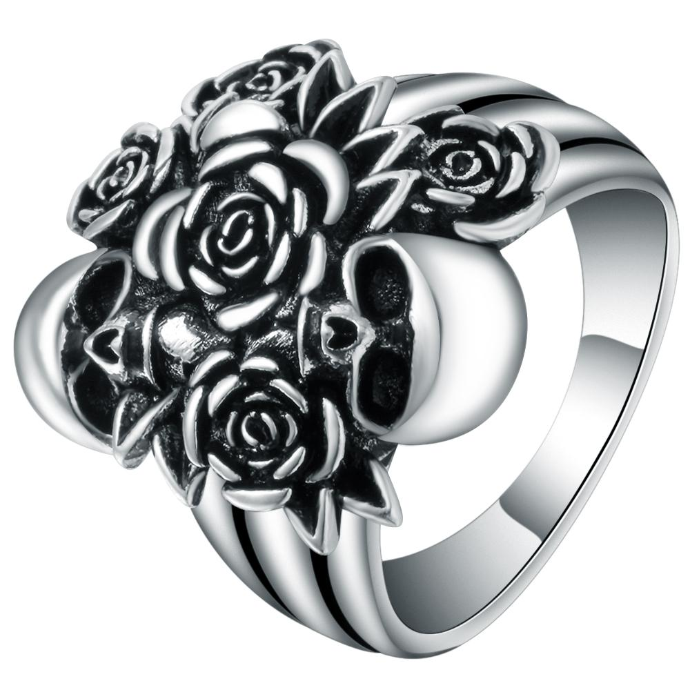 Rose Flower & Devil Death Skull Ring