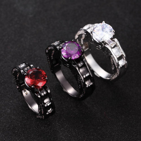 Skull Ring Plated Princess Black Zircon