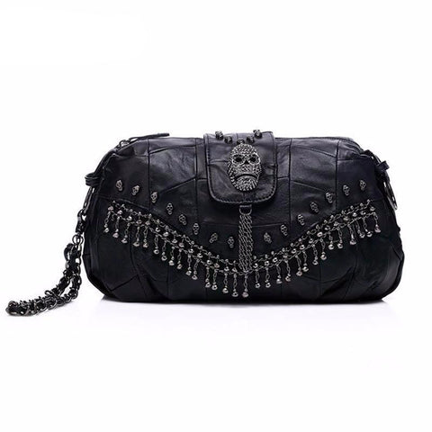 Leather Skull Rivet Handbag
