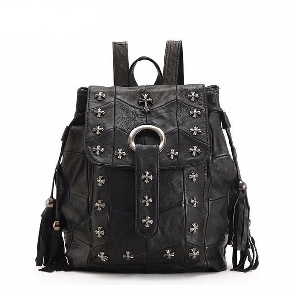 Cool Rivet Genuine Leather Black Bag - Badassnow