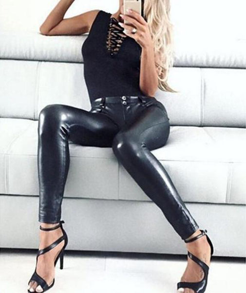 Sexy Leatherette Leggings Black Trousers