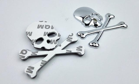 3D Car Stereo Metal Skull Decorative Stickers