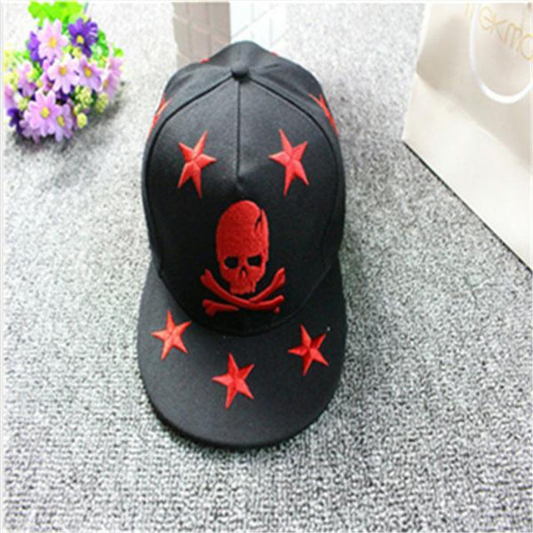 Skull Embroidery Snapback Baseball Hat