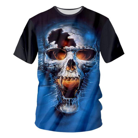 3d Cool Print T-shirt Skull Flaming Skull