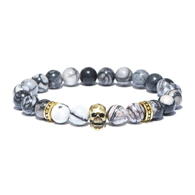 Antique Natural Stone Beads Skull Bracelet - Badassnow