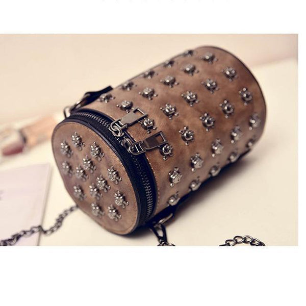 Skull Slung Shoulder Single Rivet Diamonds Chain Bag