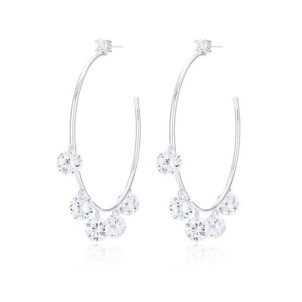 Black/White Round Circle AAA Cubic Zirconia Hoop Earrings - Badassnow