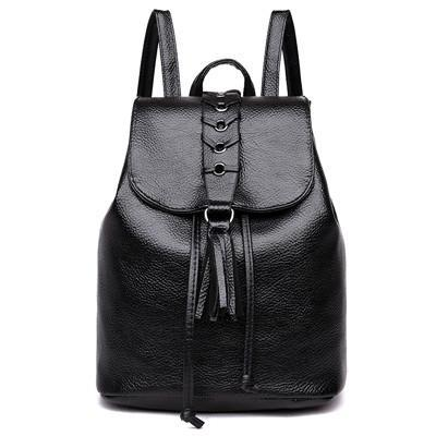 Leather Rucksack Skull Tassel Backpack