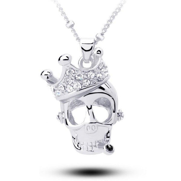 Crystal Crown Skull Skeleton Necklaces - Badassnow