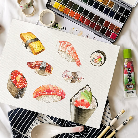 Sushi Watercolour Practice Workshop - artjamming, Boulevart - Boulevart