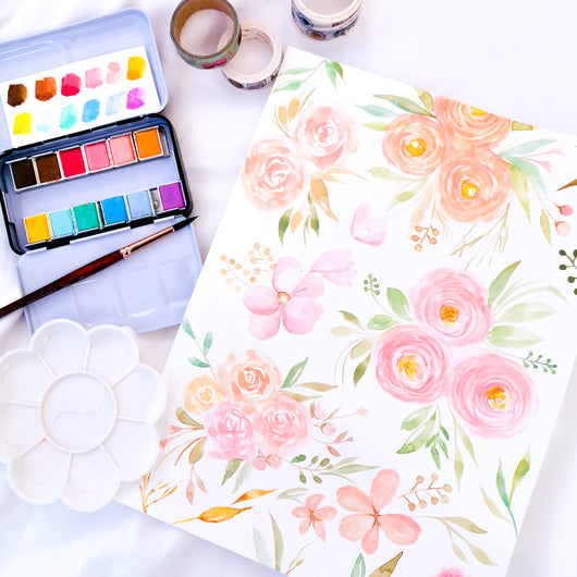 Loose Florals in Pastel Watercolour Practice Workshop