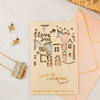 Wooden Postcard - I Love You - artjamming, Boulevart - Boulevart