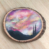 Night Sky Wood Slice Painting