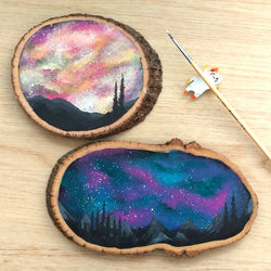 Night Sky Wood Slice Painting - artjamming, Boulevart - Boulevart