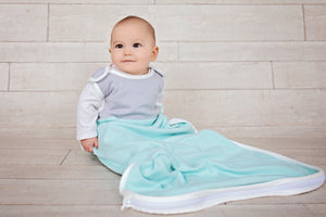 Merino wool and cotton sleeping bag, Aqua (0-2 years)