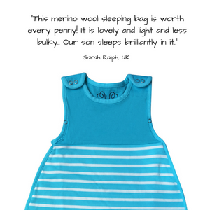 Merino wool and organic cotton sleeping bag, Aqua (0-2 years)