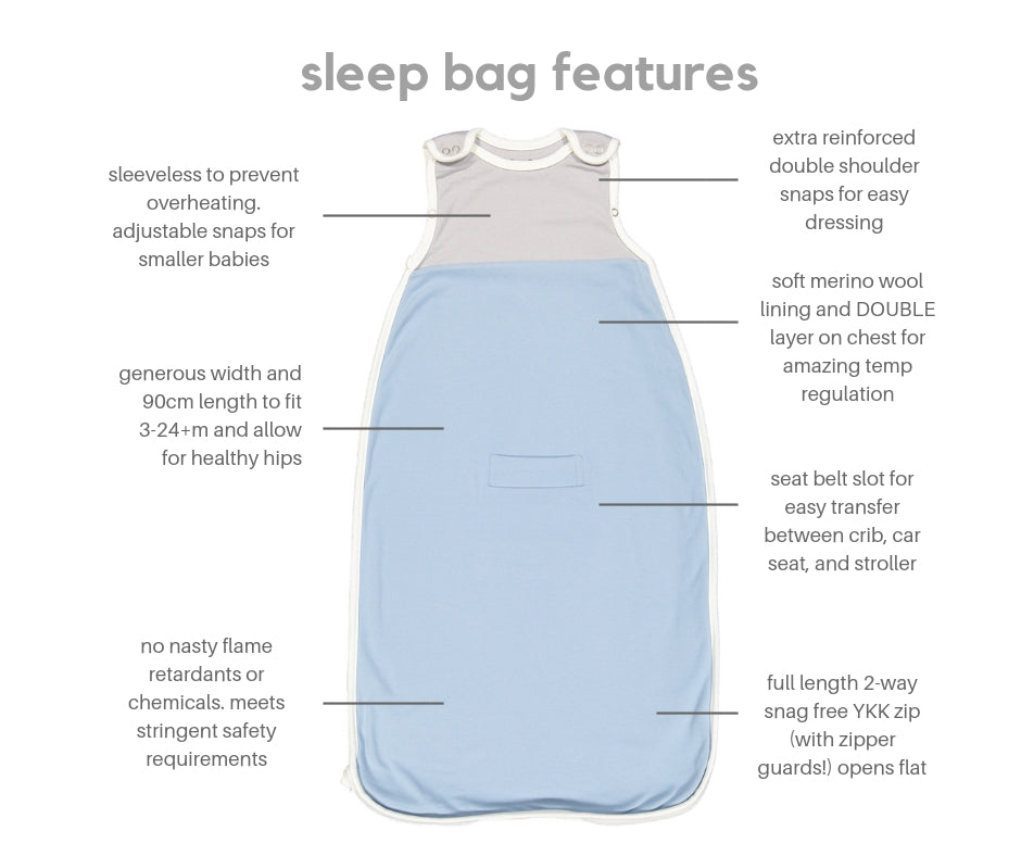 Merino wool and cotton sleeping bag, Blue (0-2 years)