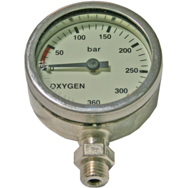 Manometer 52 mm 270 bar Oxygen chrome - D-Center