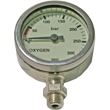 Manometer 52mm 270 bar Oxygen nikkel - D-Center