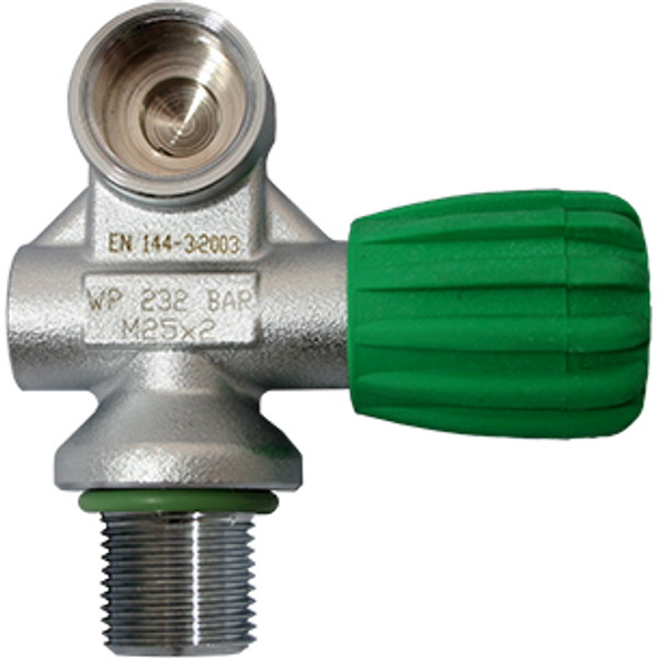 Nitrox mono kraan DIN144-3, 232 Bar M26x2 links - D-Center