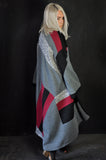 LONG Patchwork knit Red/Grey