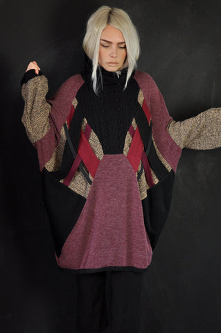 LONG Patchwork knit Grey