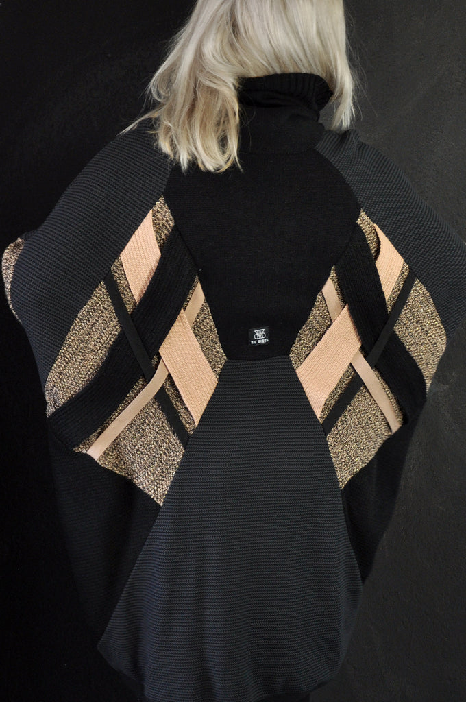 Cross knit Black/Nude