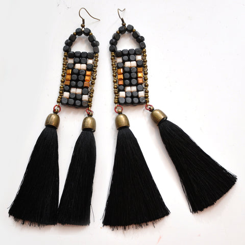 LUCA Statement Earrings Black/Green
