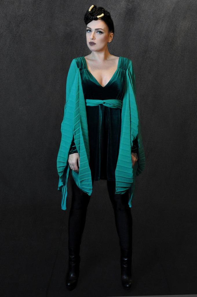Velour Pleated Dress Green