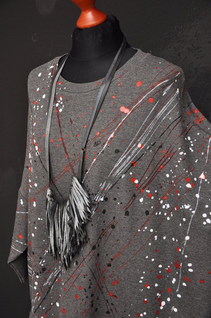 Splatter knit dress grey/red/white