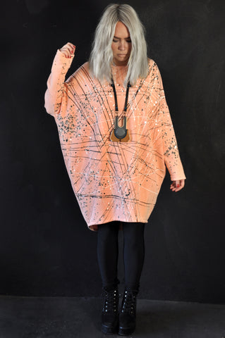 Splatter knit dress blue/peach