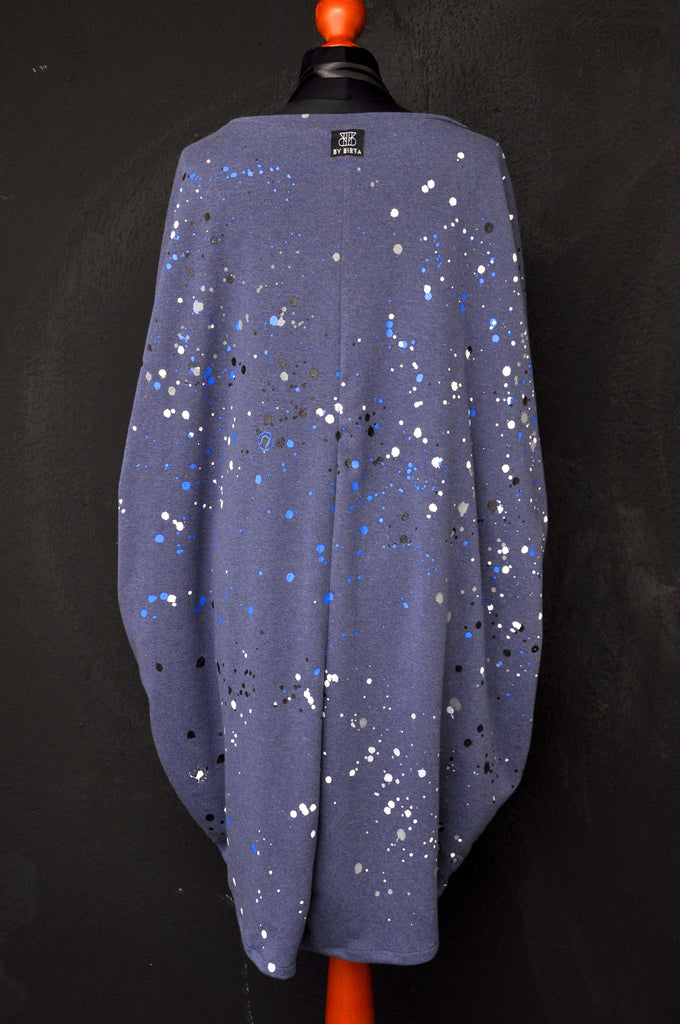 Splatter knit dress blue/white drops