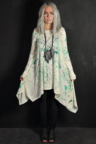 Splatter sweater dress Mint/Blue