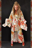 Kimono dress Flowers Cream/Red