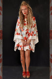 Kimono dress short White/Red