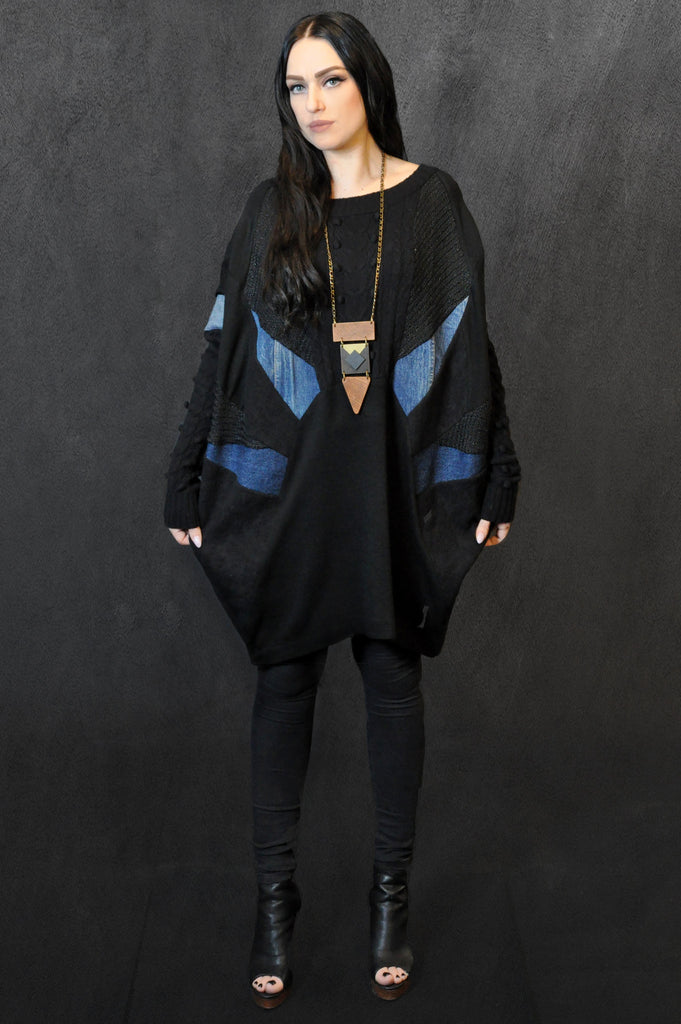 Patchwork Sweater Denim/Black