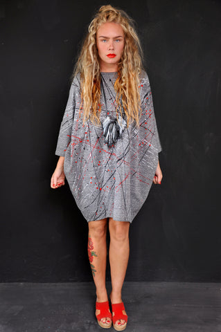 Splatter patchwork knit dress black/grey